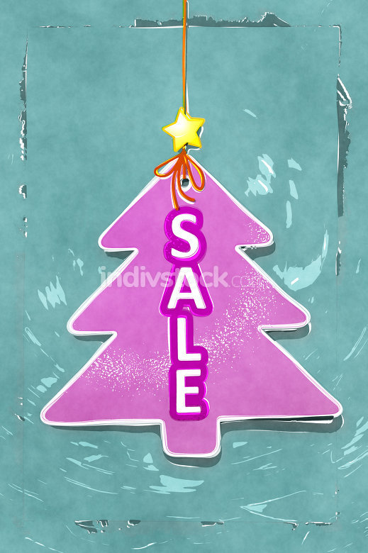 Illustration pink water color christmas tree tag sale