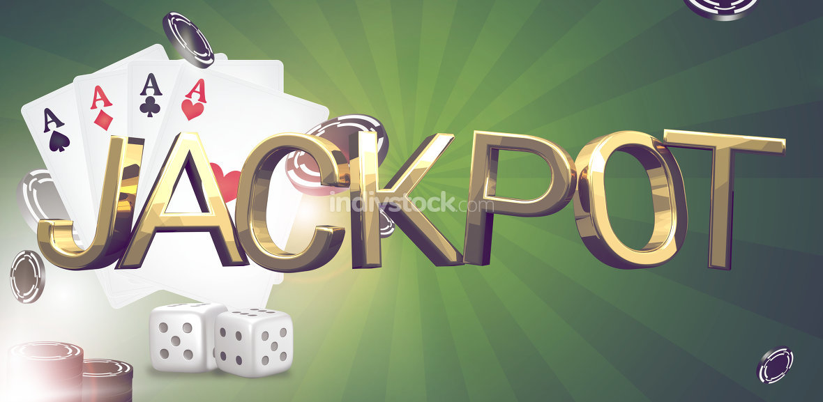 jackpot theme. Poker cards. gambling poker 3d render