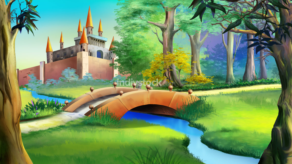Landscape with fairy tale castle and small bridge over the river