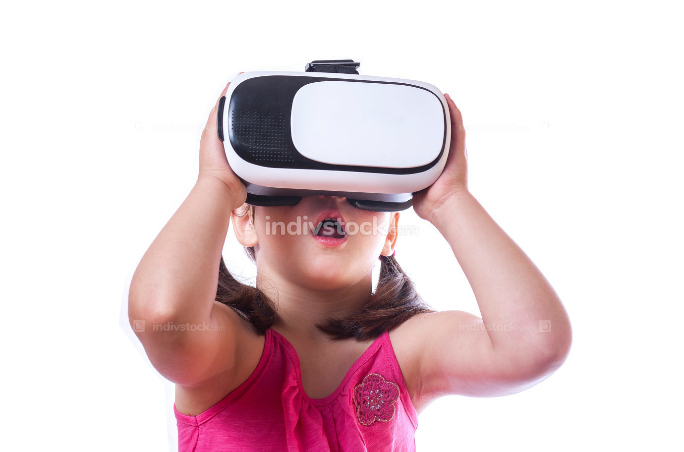 Little girl with VR goggles