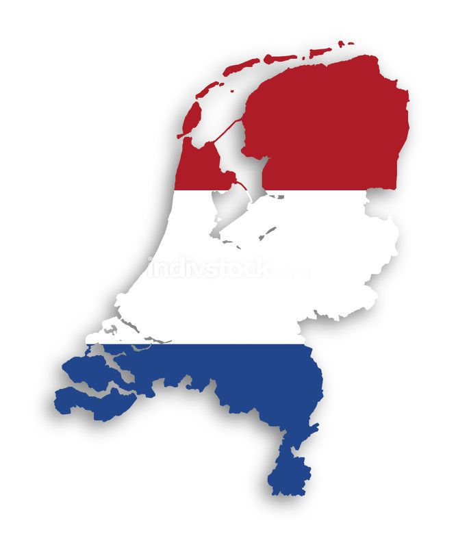 Map and flag of the Netherlands