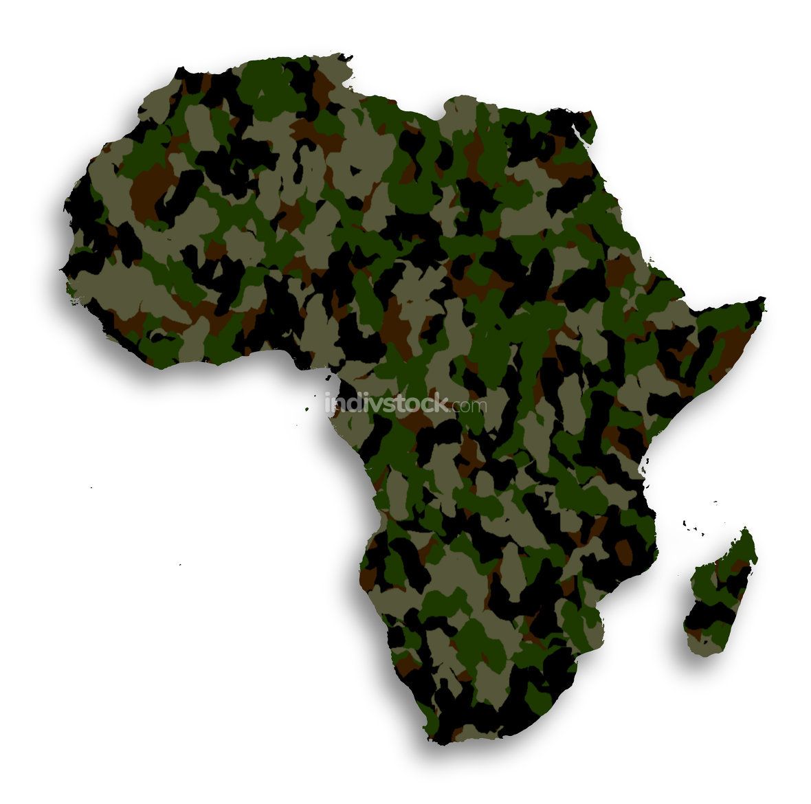 Map of Africa filled with camouflage pattern