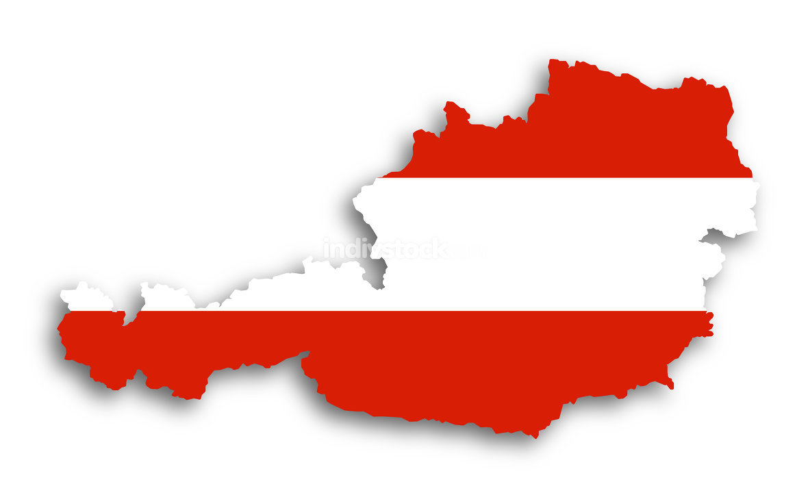 Map of Austria filled with flag