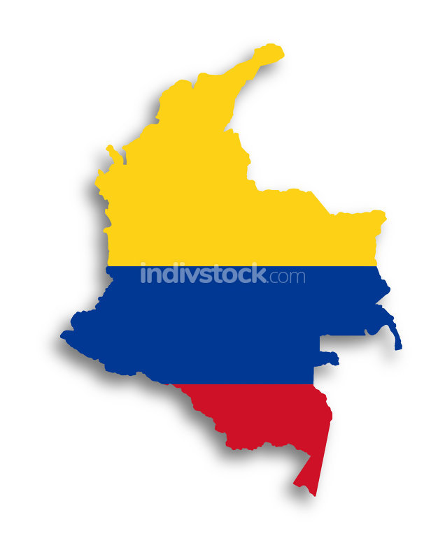 Map of Colombia filled with flag