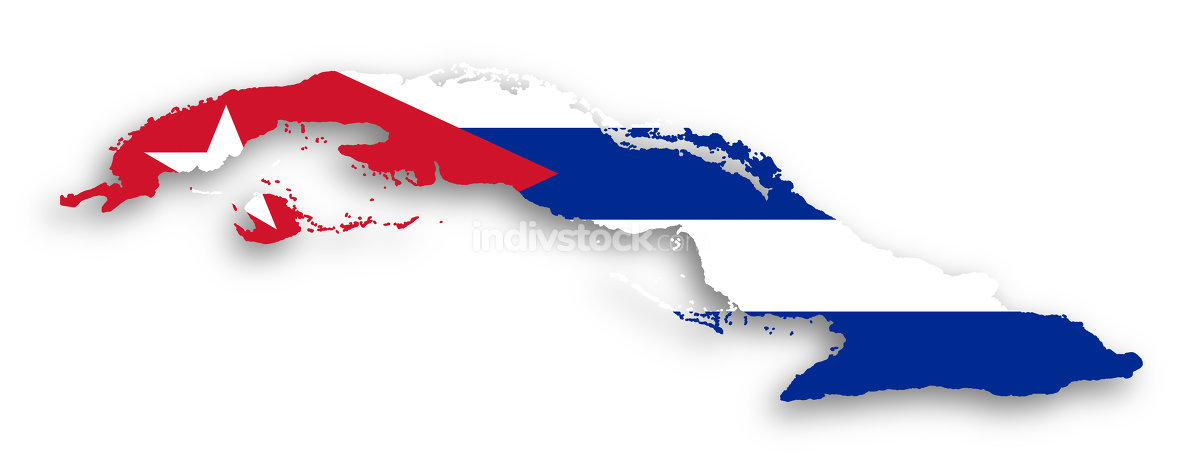 Map of Cuba filled with flag