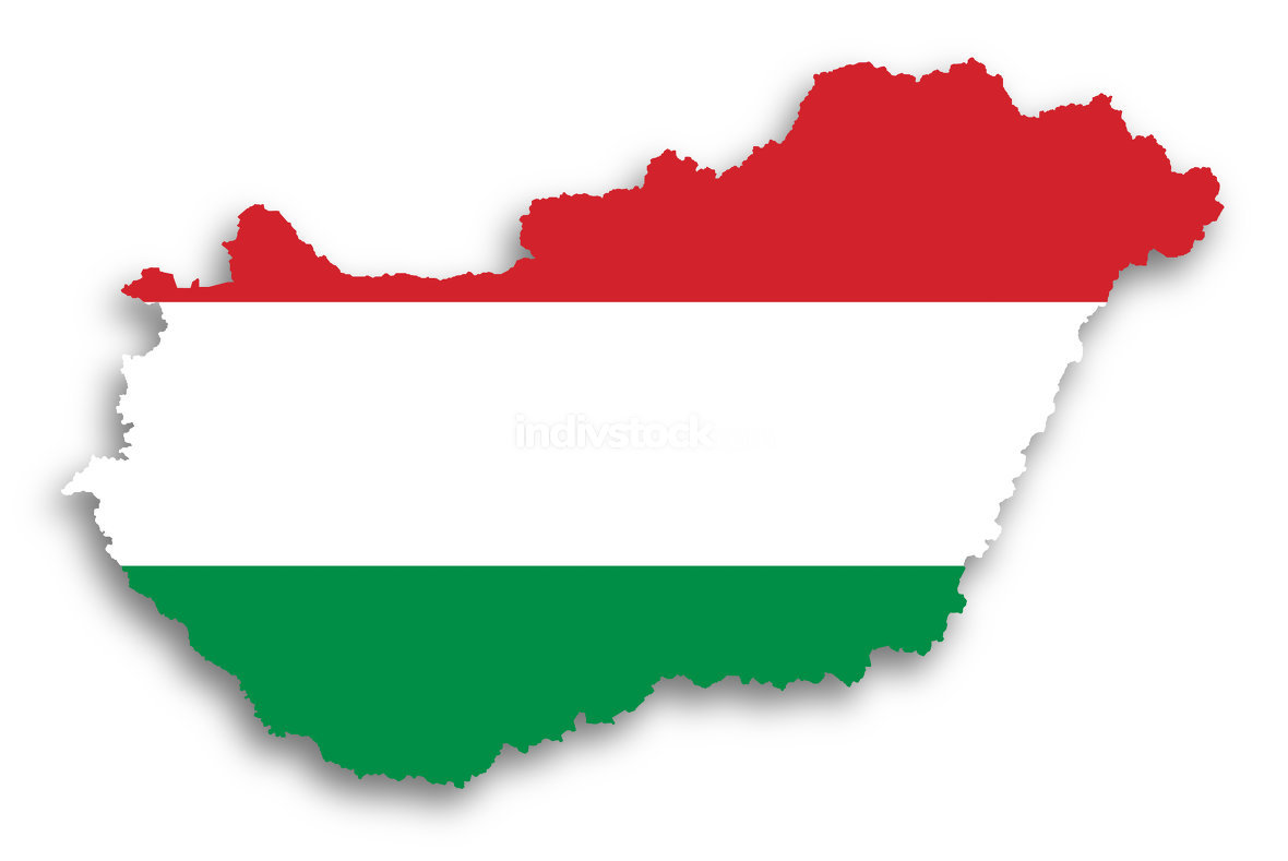 Map of Hungary filled with flag