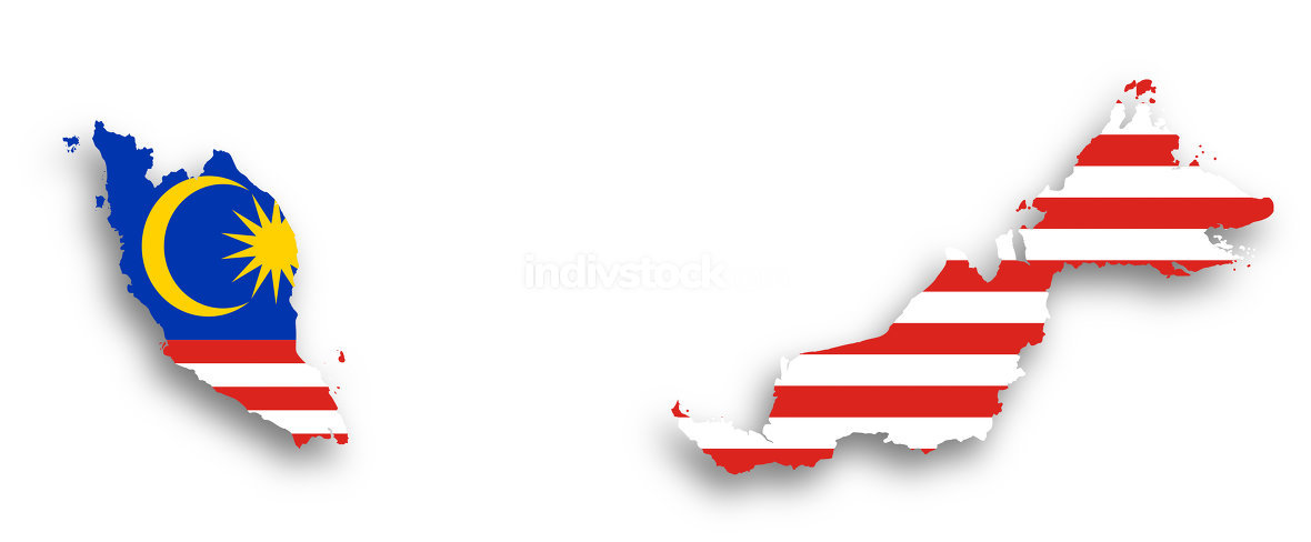Map of Malaysia filled with flag
