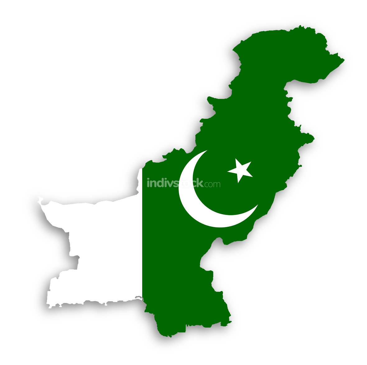 Map of Pakistan with their flag