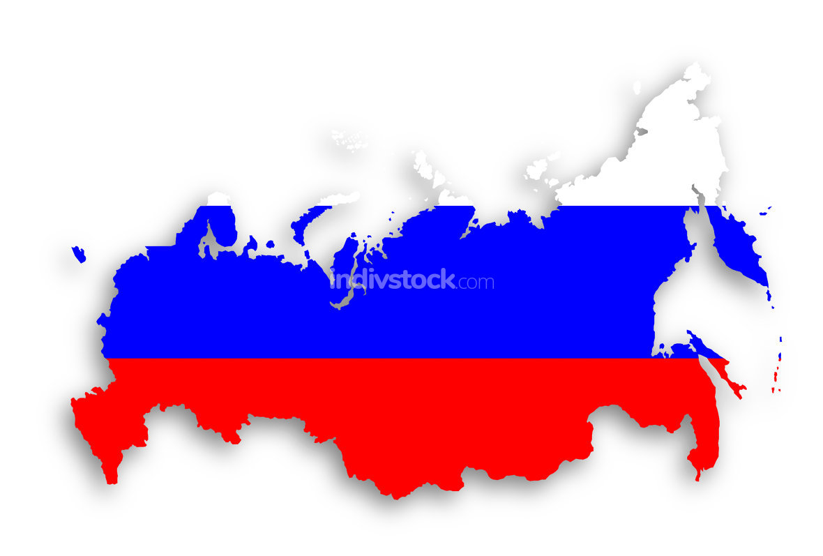 Map of Russia with flag inside