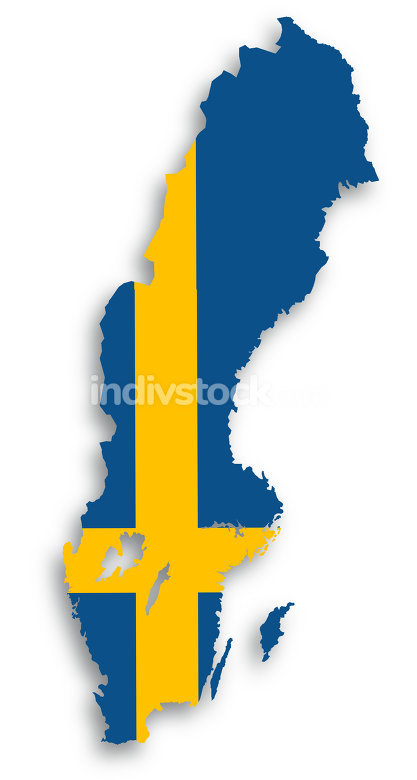 Map of Sweden filled with flag