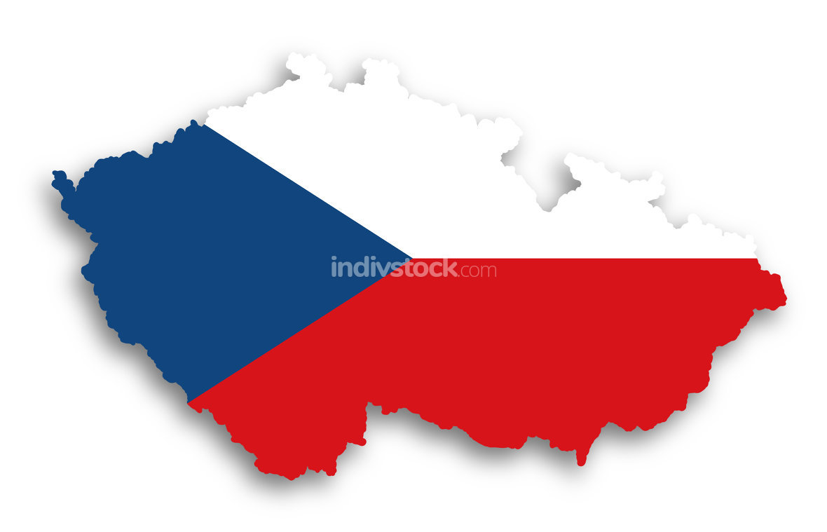 Map of The Czech Republic filled with flag