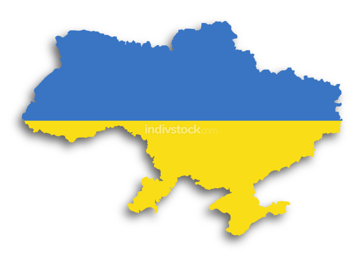 Map of the Ukraine filled with flag