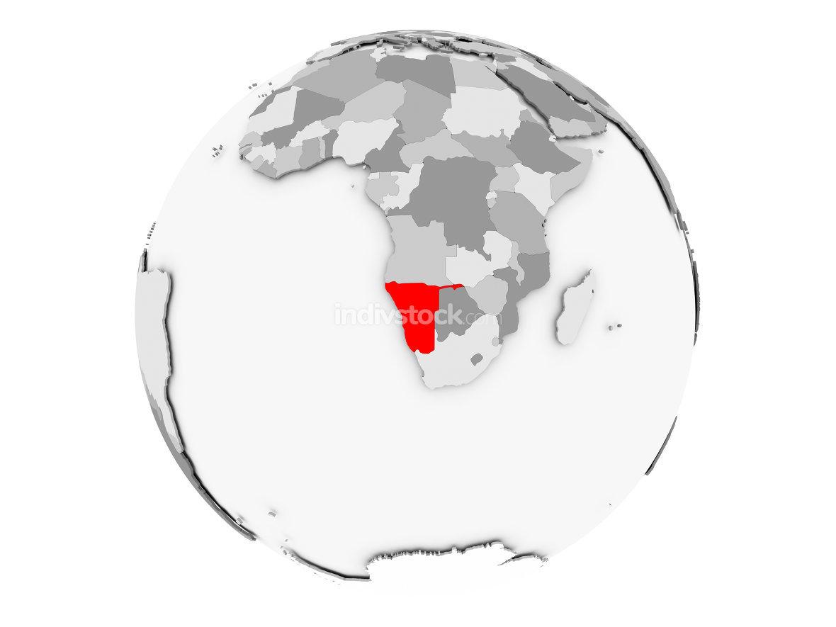 Namibia on grey globe isolated