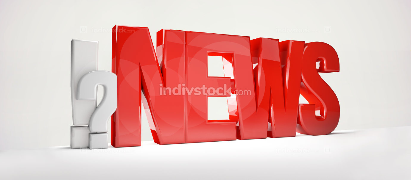 News exclamation mark question mark 3d rendering