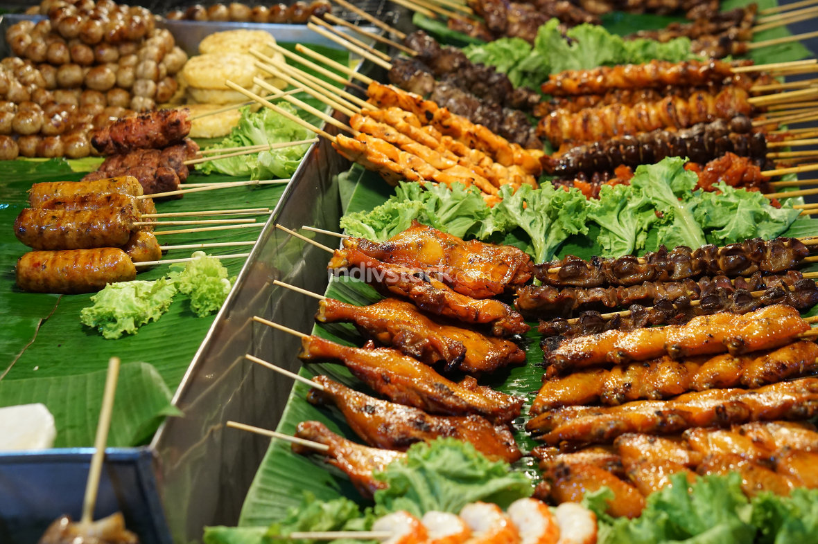 night market in thailand food 2 go with chicken pork and shrimps