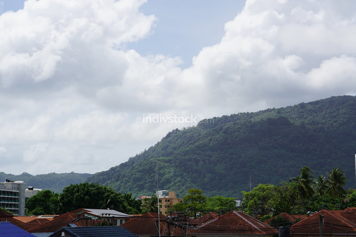 Patong Phuket in Thailand roof tops and mountain view