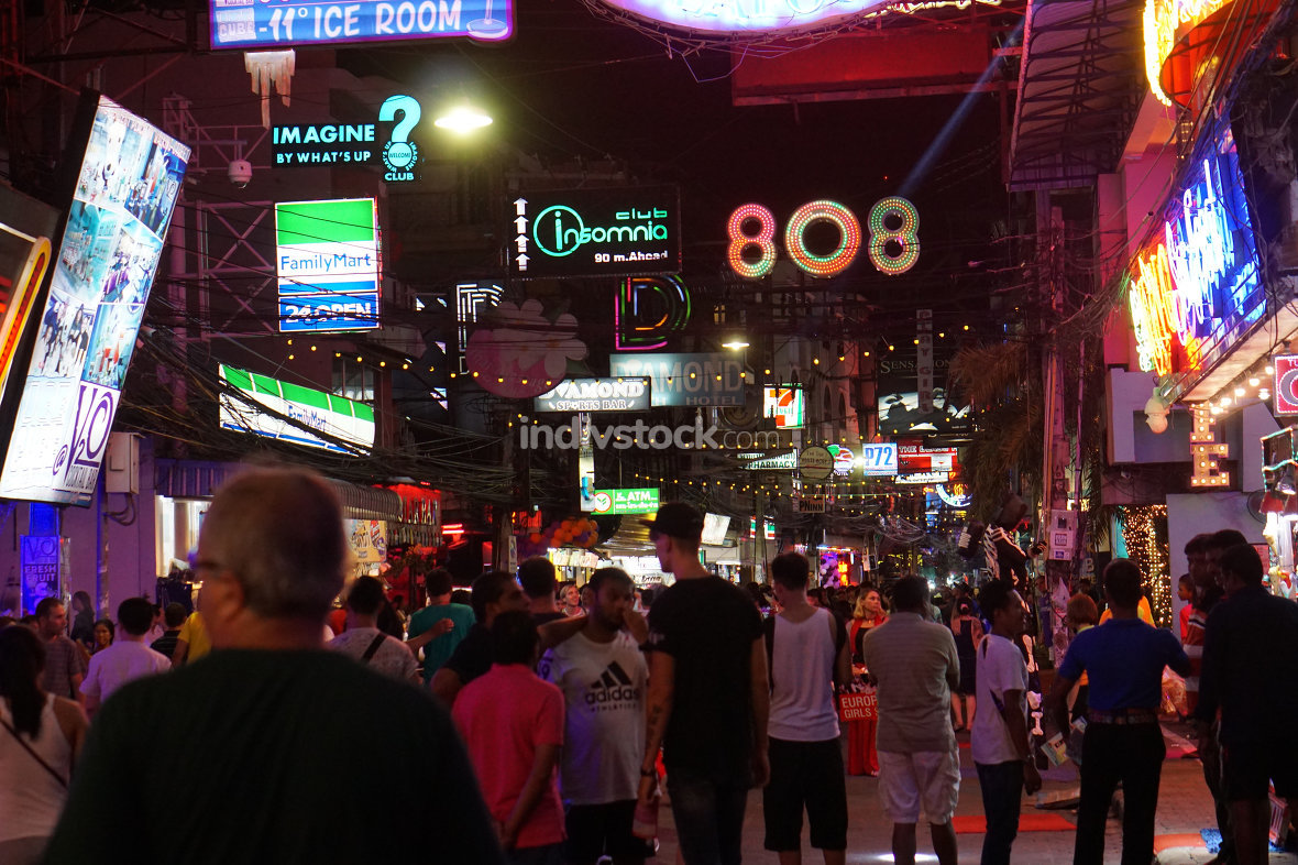 Pattaya Walking Street with many people walking. June 30 2017.