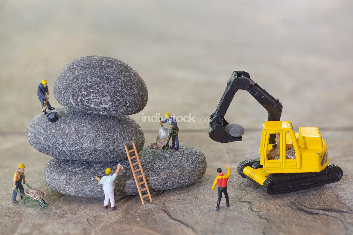 Pebbles stack and figurines