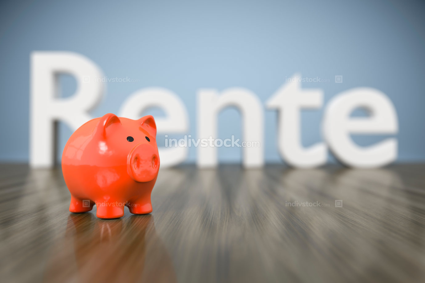 piggy bank with the word pension in german language