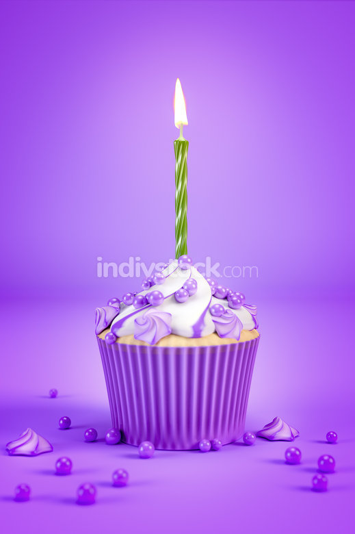 purple cupcake with a green candle