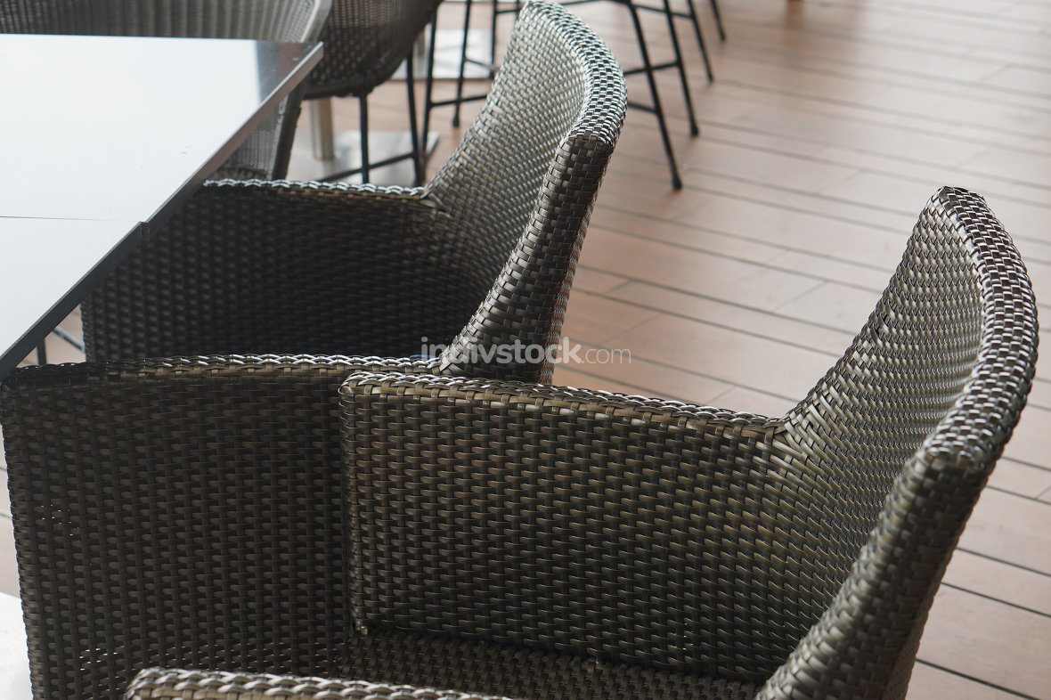 restaurant chairs close up