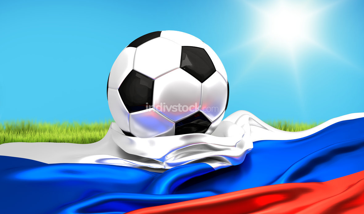 russia flag with soccer football ball 3d rendering
