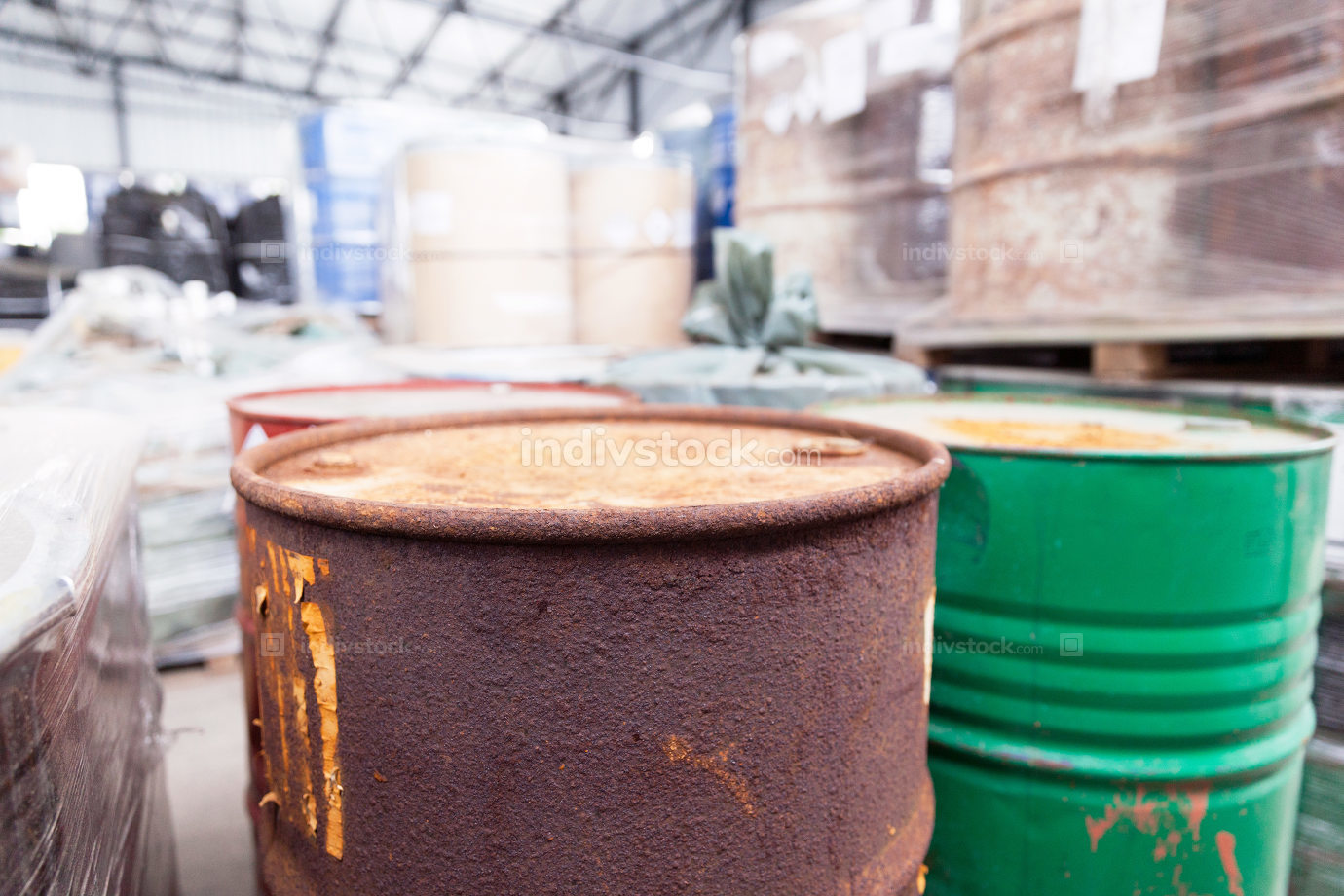 Rusty barrels with toxic chemical waste