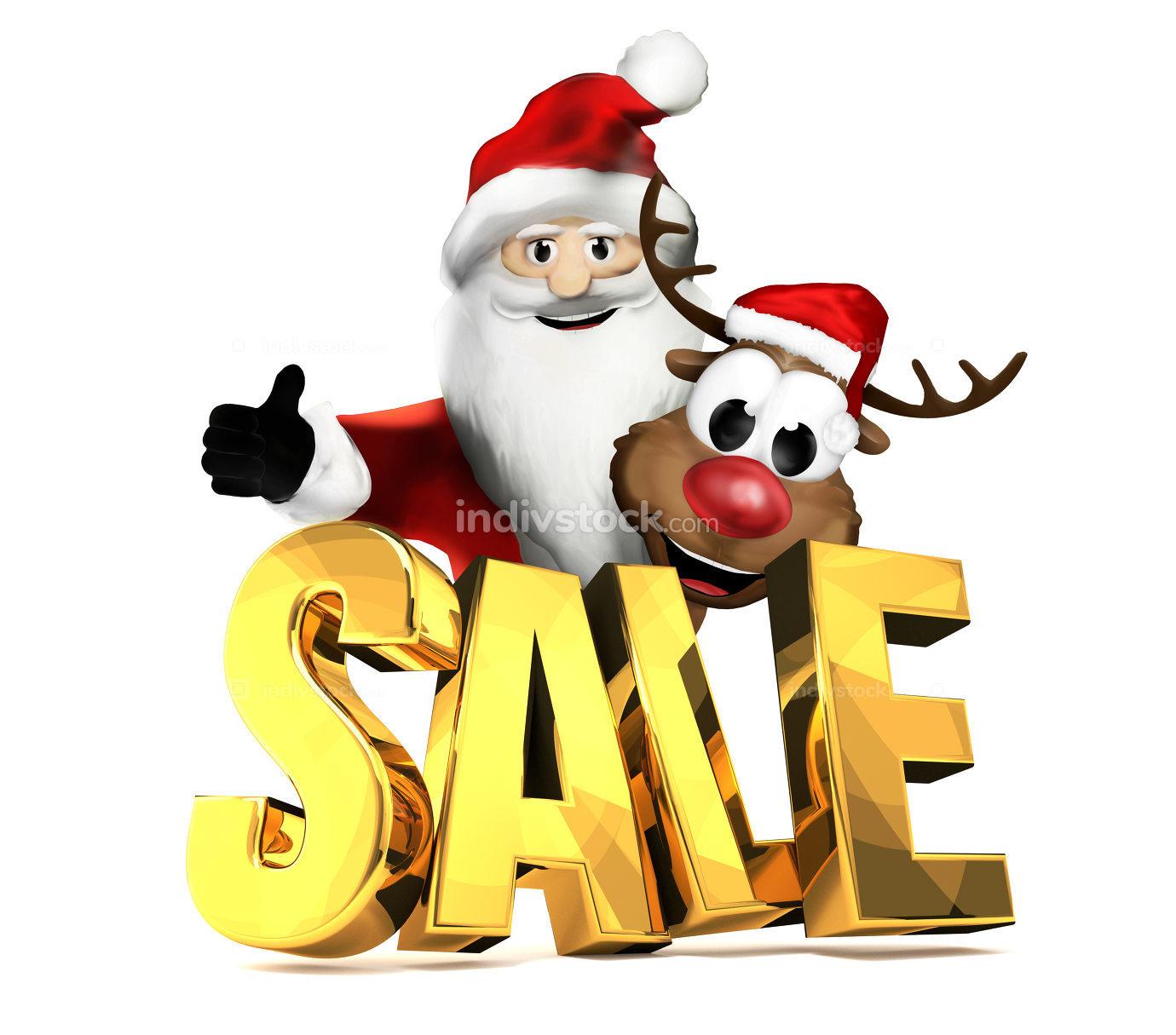 Santa Claus and Reindeer christmas sale golden 3d rendering