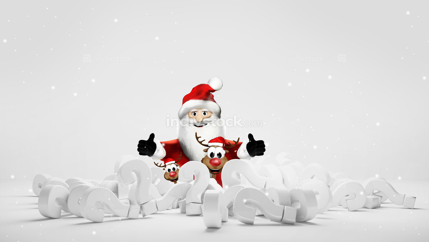 Santa knows the answer pile of questions marks 3d rendering