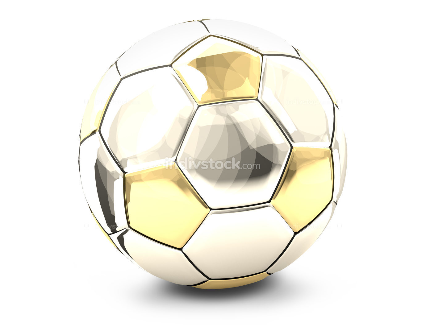 silver and golden metallic soccer football 3d rendering