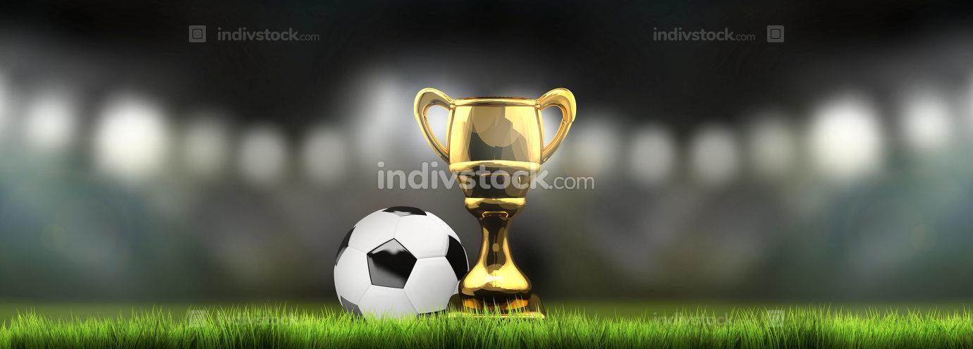 soccer football golden trophy with flood lights background 3d re