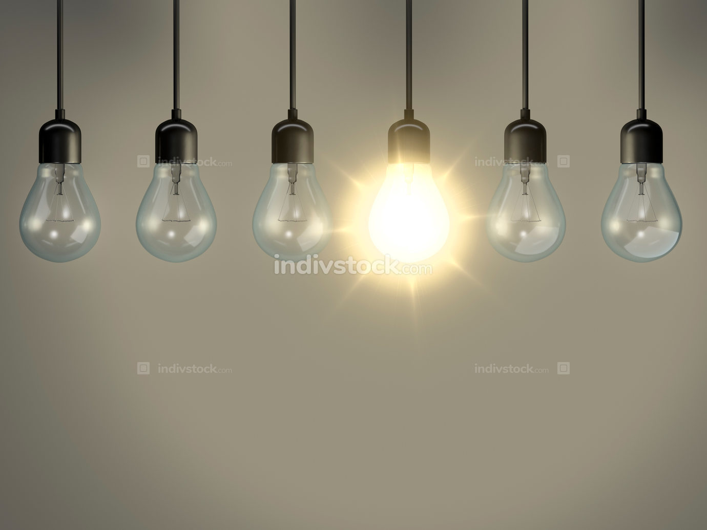some bulbs one is lighting 3d rendering