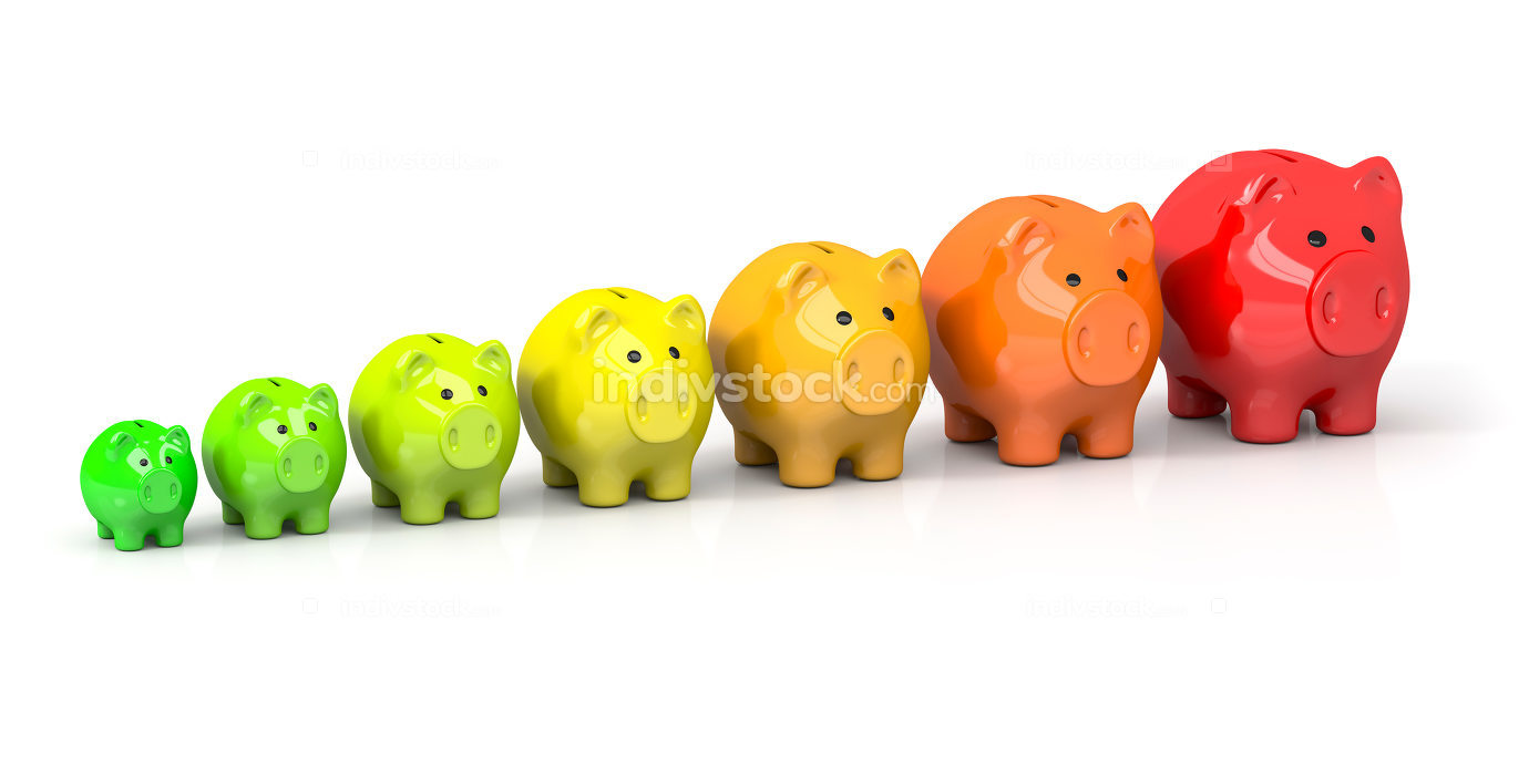 some piggy banks in different colors for energy efficiency