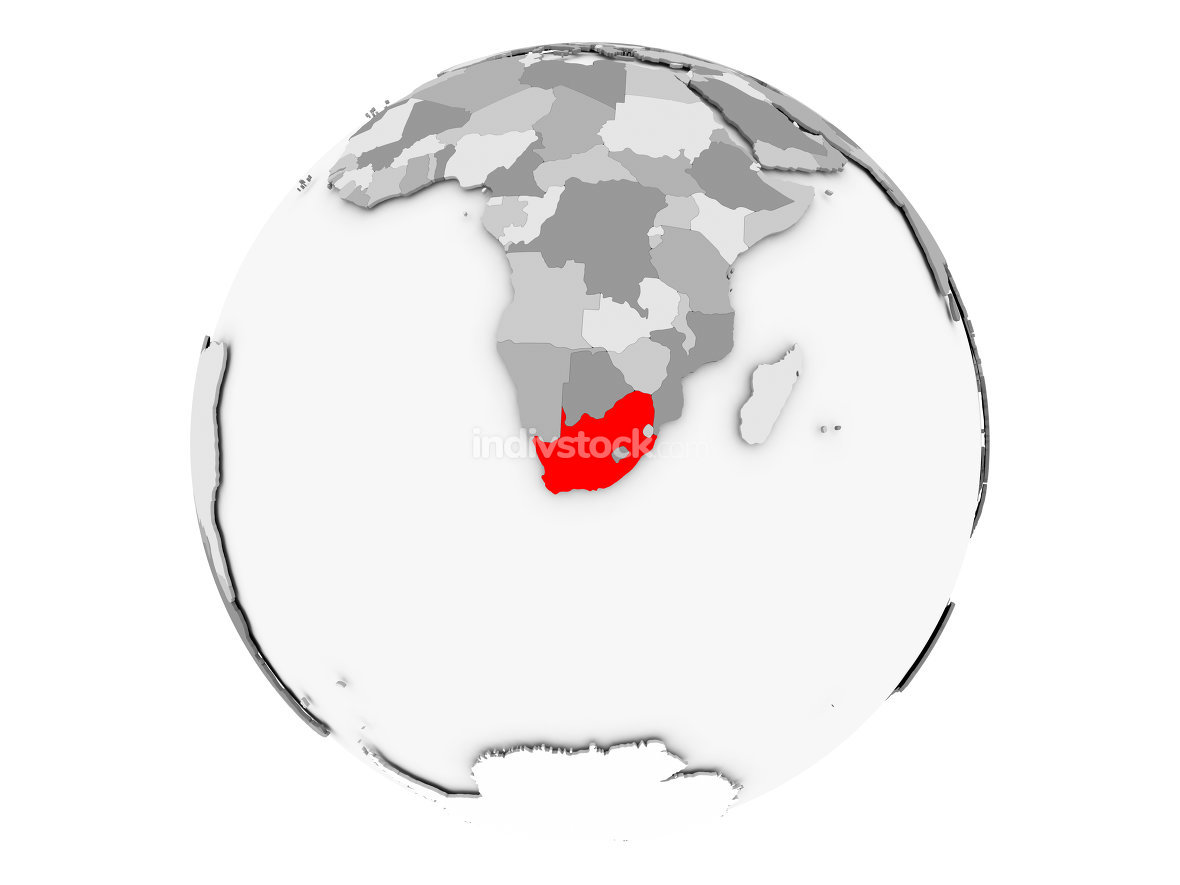 South Africa on grey globe isolated