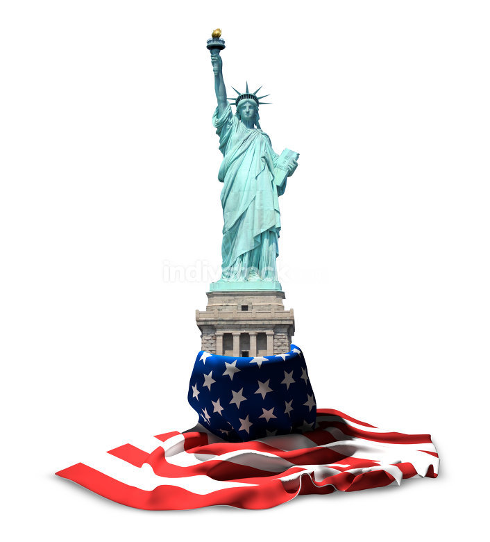 Statue of Liberty USA. American flag banner and USA statue 3d re