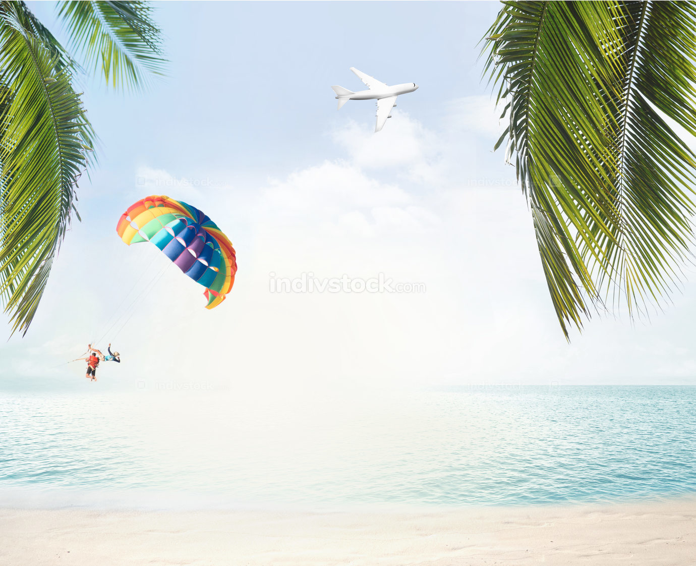 summer beach and ocean horizon with tropical palm leaves 3d rend