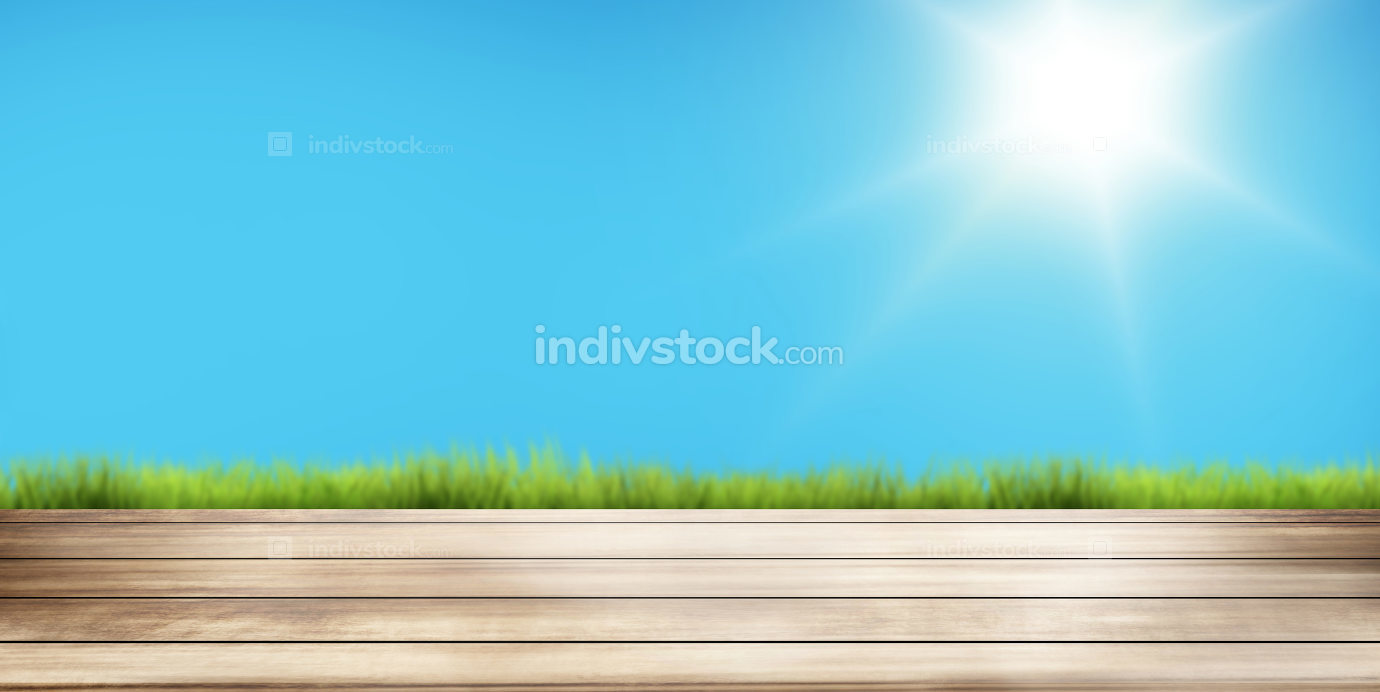 sunny sky and green grass wooden floor background. 3d rendering