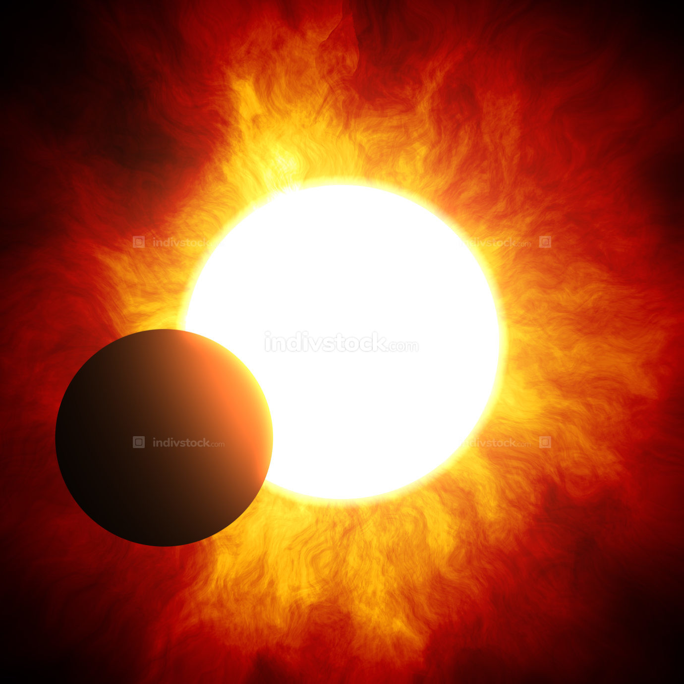 the beginning of a solar eclipse 3d rendering