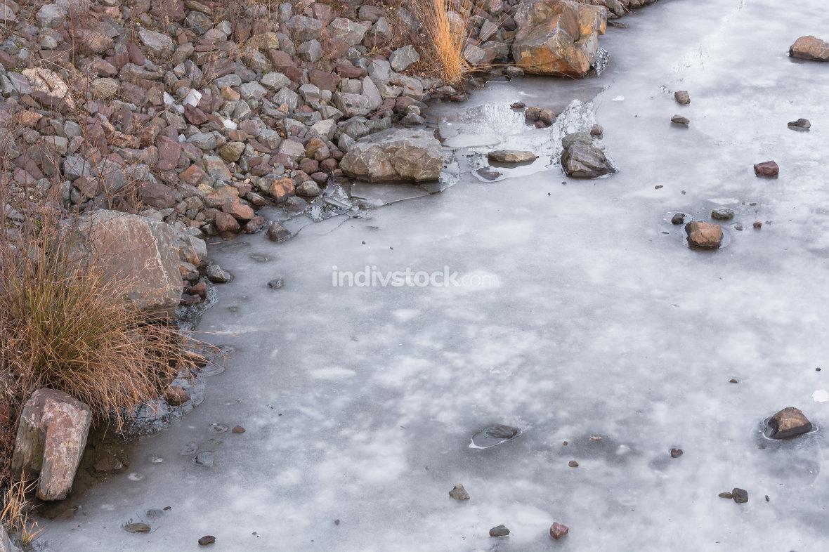 The river Ruhr frozen.