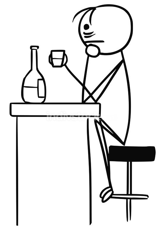 Vector Stickman Cartoon of Sad Man in Depression Drinking Alone