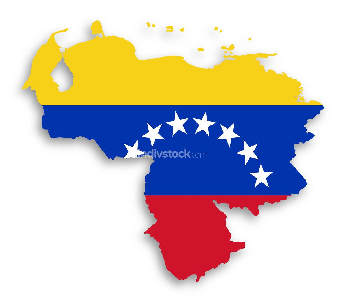 Venezuela map with the flag inside