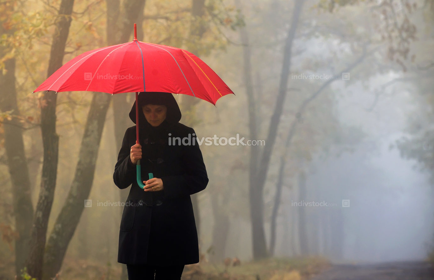 Woman and foggy forest