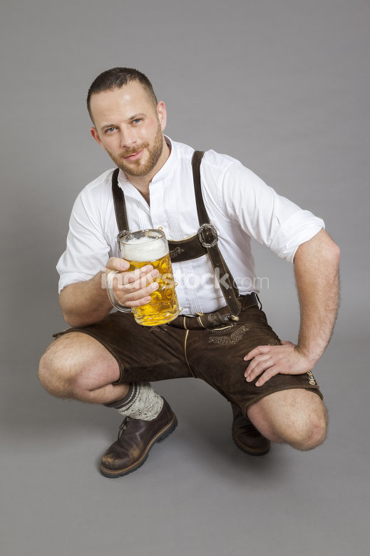 young bavarian with a beer