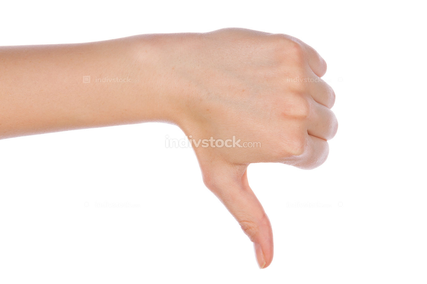 Young girl hand signaling thumb down