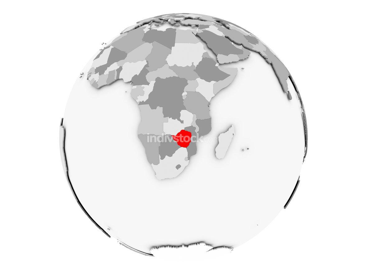Zimbabwe on grey globe isolated