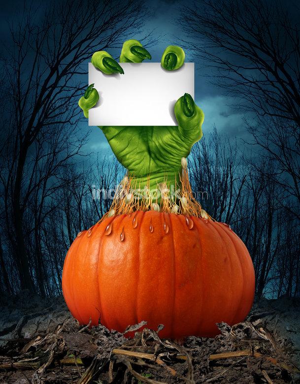 Zombie Pumpkin Sign