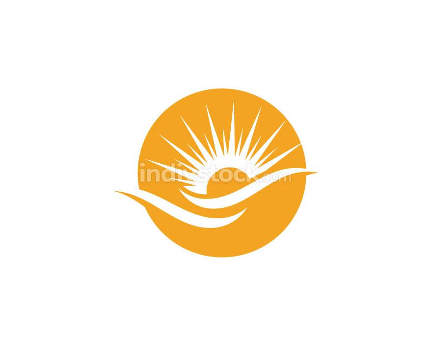 Sun over horizon Logo Template