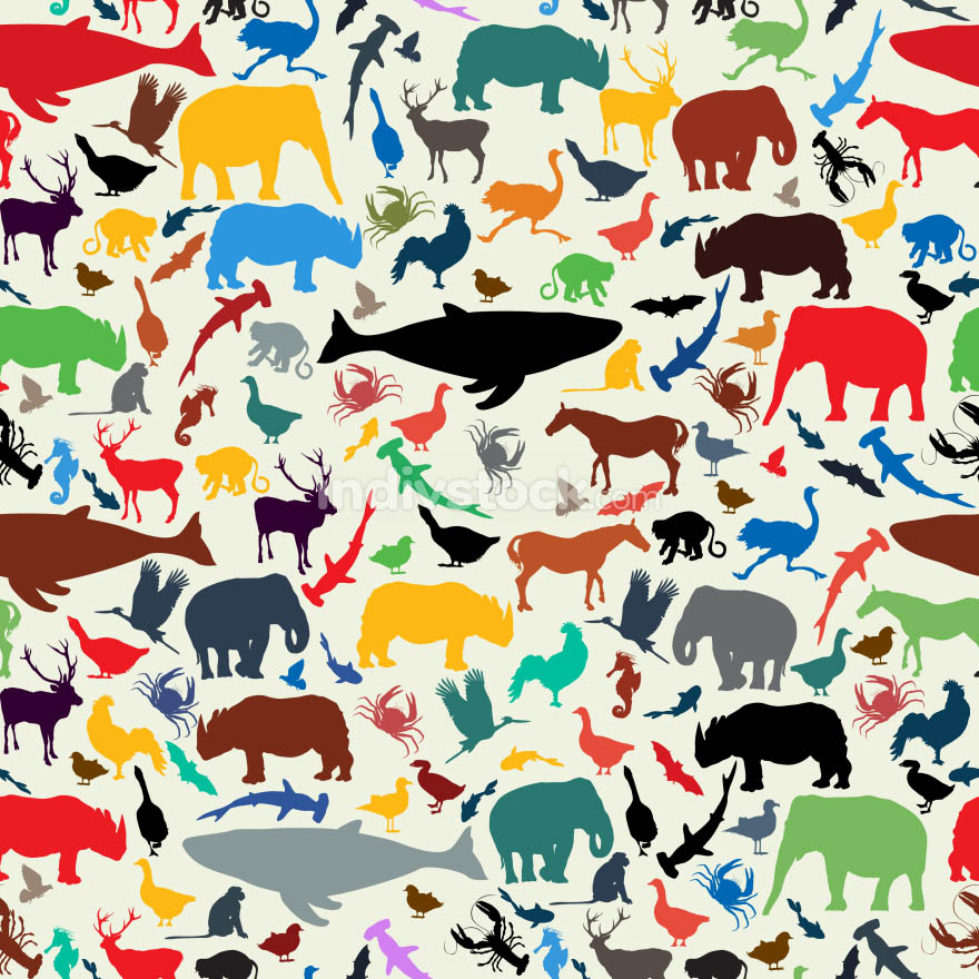 Animals silhouette seamless pattern