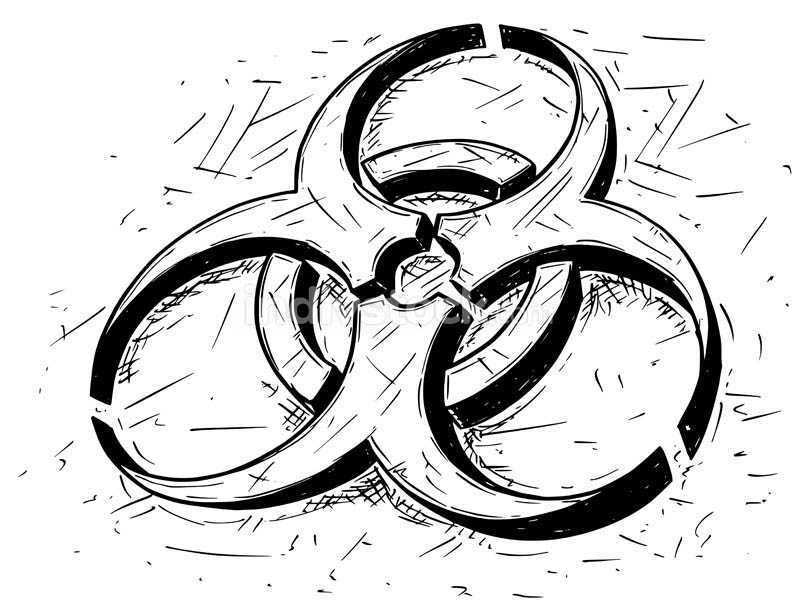 Biohazard Symbol Vector Cartoon Drawing