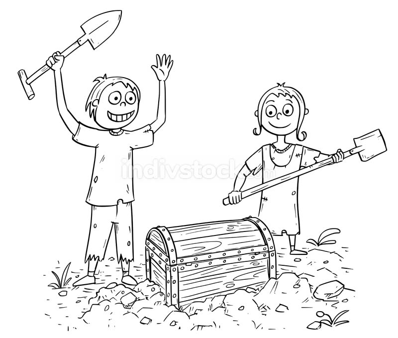 Cartoon Illustration of Boy and Girl who Found a Treasure Chest
